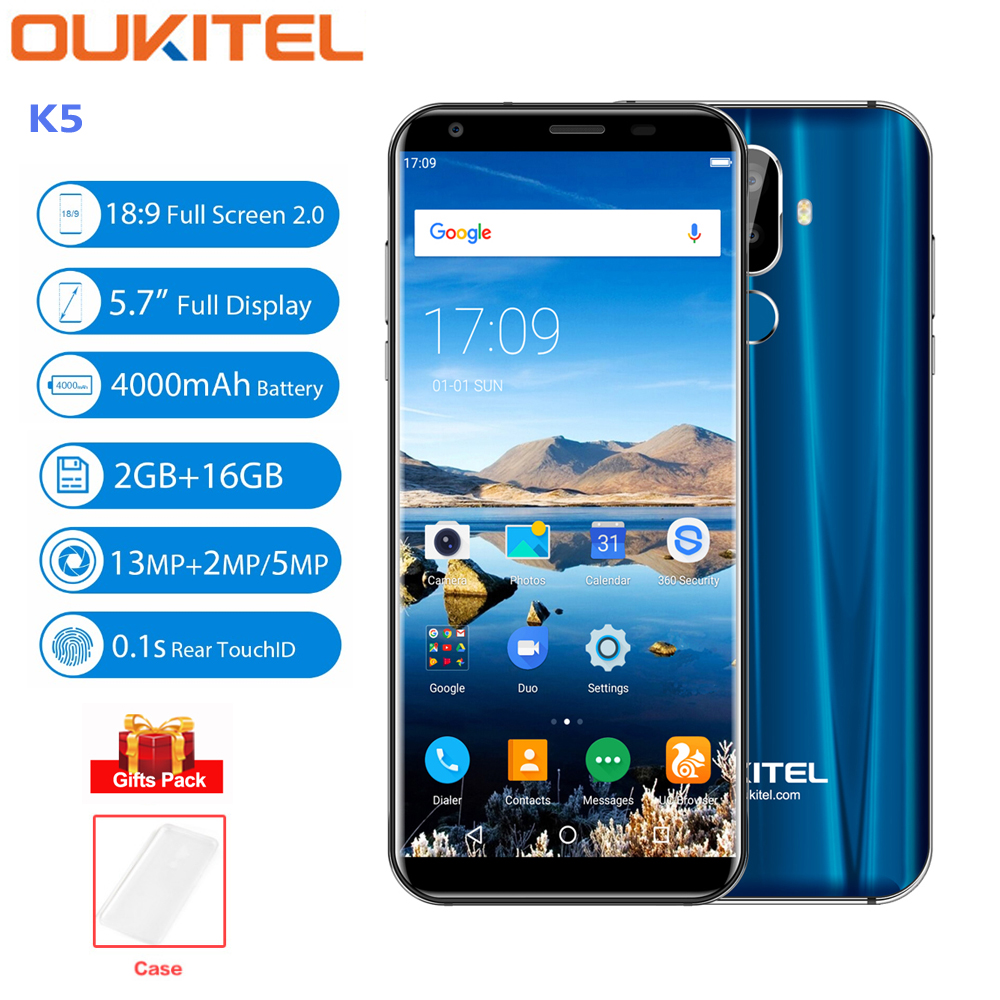 OUKITEL K5 4g Handy 5,7 ''HD + Android 7.0 4000 mah Dual Hinten Cams MTK6737T Quad Core 2 gb + 16 gb 8MP Fingerprint Smartphone