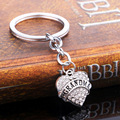 1PCS Rhinestone Crystal Set Auger Silver Plated Heat Pendant Keychain Key Chain For Best Friend Family Gift