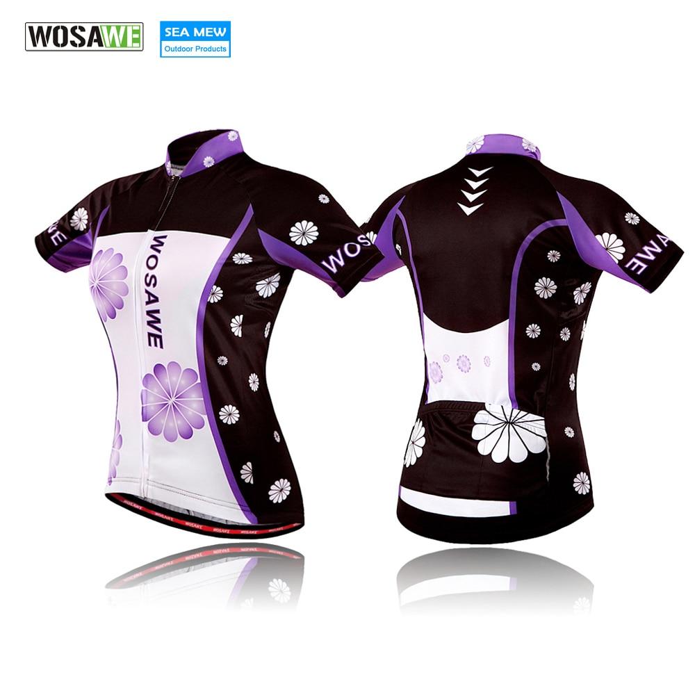 WOSAWE 2018 Wielrenshirts Korte mouw Sportkleding Jersey Fiets Dames Zomeroverhemden