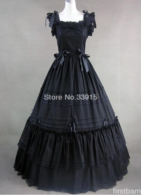 Halloween costumes Cheap Long-sleeved black Gothic Victorian Dresses free shipping