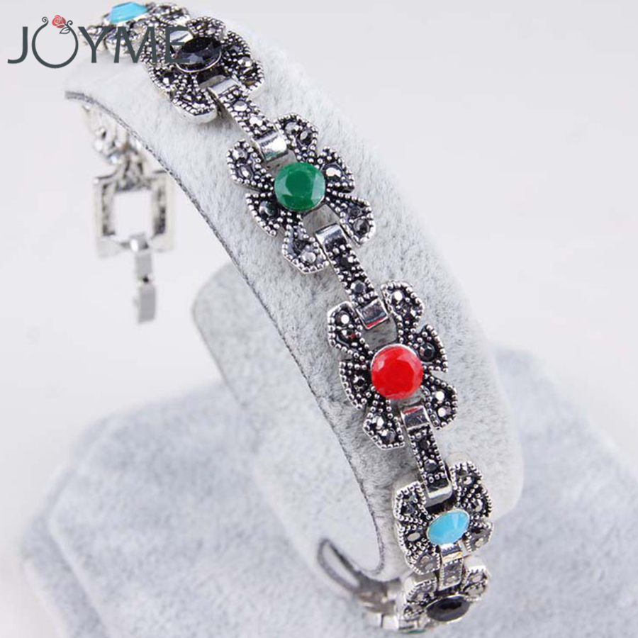 2018 Bohemian Vintage Charm Bracelet Femme Rainbow Crystal Love Womens Bracelet Bijoux Silver Hand Jewelry Dropshipping Gift