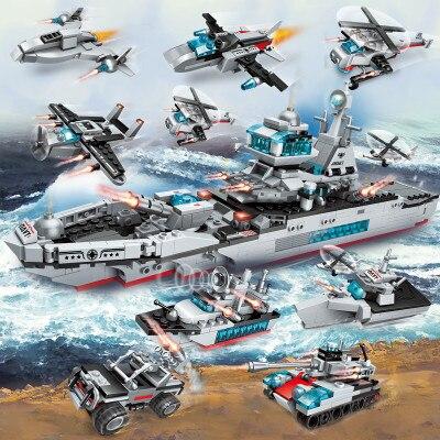 700 pièces 8in1 Legoinglys Militaire Cruiser Navire de Guerre Hélicoptère Combattant Modèle de Réservoir De Voiture Ensemble Blocs de Construction Jouets Pour Enfants Cadeau