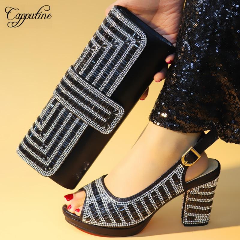 Y Con Para oro Bolsa De 3 Mujer Venta Negro 9 Africana Tacones Tx Cuadrados Bombas Caliente azul Cm Moda rojo plata Boda Zapatos 1070 w4Y1xzq6Z1