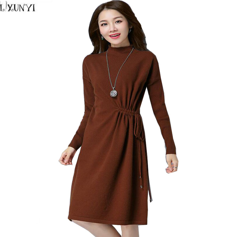 LXUNYI Sweater Dresses For Winter Midi Casual Solid Loose Turtleneck Dress Long Sleeve Warm Knitted dresses