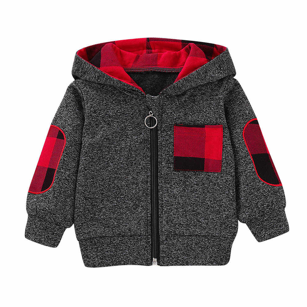 8f69538df5d MUQGEW Winter Wram Coats For Children Boys Girls Infant Baby Boys Girls  Plaid Hooded Zipper Tops