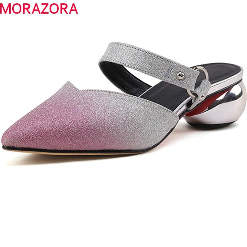 Mulas Rose Llegada Gradiente 2018 Zapatos Fuera Zapatillas Red Nueva Superficial plata Verano Partido De Morazora Boda Mujeres Punta Color S4xZn