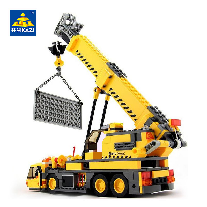 Kazi City Crane Building Blocks Sets Model 380pcs Educational DIY Bricks Toys 8045 For Kids Compatible Lepin City Engineering decool 3114 city creator 3in1 vehicle transporter building block 264pcs diy educational toys for children compatible legoe