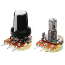 цена на 5 PCS New 10K OHM 15mm Resistor Potentiometer With White Knob Caps 3Pin Linear Mono Stereo Pot Rotary Potentiometer