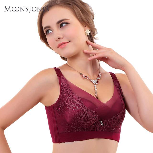 1a25e668cc moonsjones push up bra women Sexy Lace Renda lingerie Plus size Cup A B C D  blue pruple red