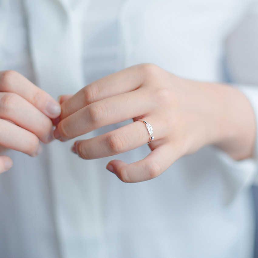 Kinitial prosty liść piórko pierścienie liść ptak pióro otwórz dostosuj pierścień świąteczna minimalistyczna biżuteria dla kobiet dziewczyn urok prezent