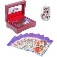 цены на Christmas Wooden Box Pack Waterproof Plastic Playing Cards  Durable Game Cards  Creative Poker Cards Playing Card Gift Box  в интернет-магазинах