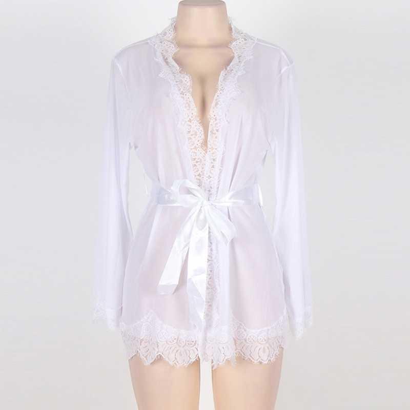 Damski zestaw bielizny nocnej rzęs koronkowa szata przezroczysta siateczka Kimono koszula nocna seksowna bielizna