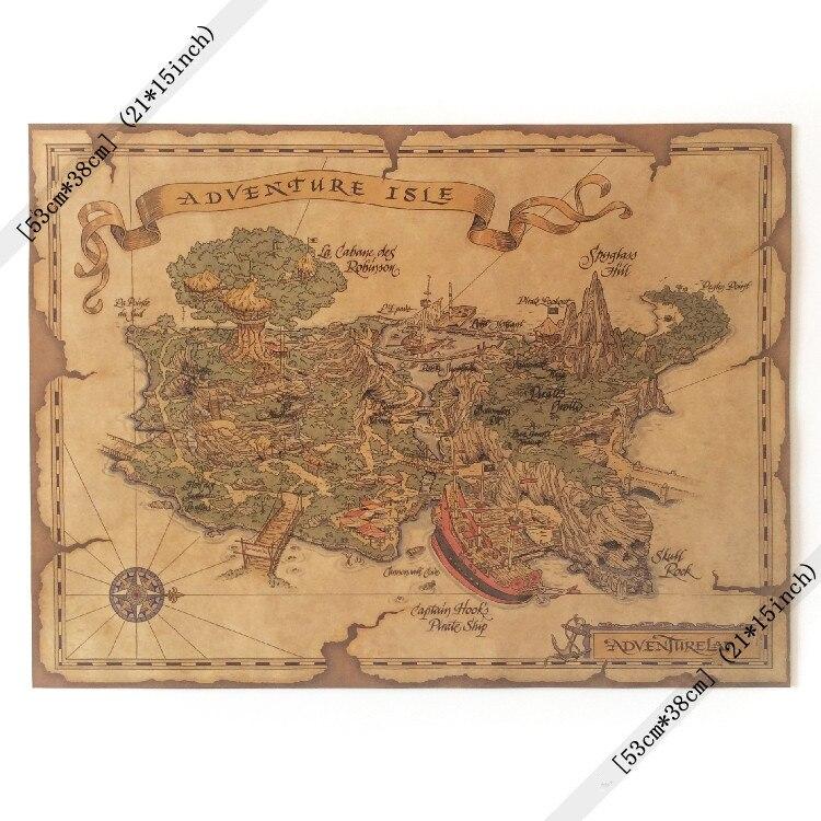 Остров приключений Географические карты Винтаж бумаги плакат 21x15 дюймов (53*38 см) дети мальчик подарок