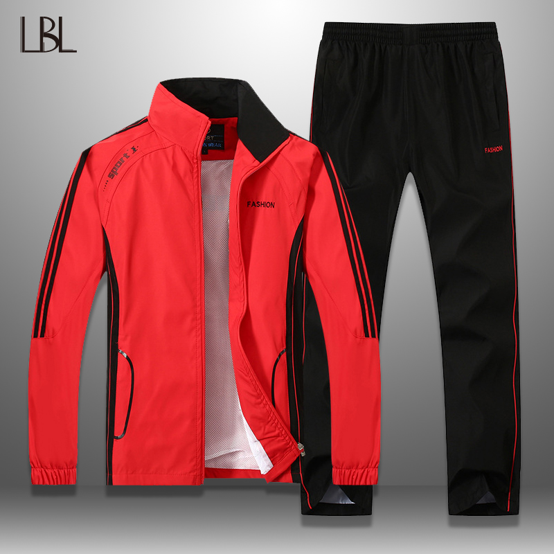 LBL Men Tracksuit Striped Autumn Winter Slim Fit Mens Set Windproof Outwear Jacket Sweatpants Two Piece Set Men's Sportswear 5XL