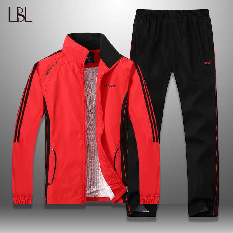 LBL chándal para hombre a rayas Otoño Invierno ajustado para hombre conjunto de prendas de vestir a prueba de viento pantalones de chándal conjunto de dos piezas de ropa deportiva para hombres 5XL