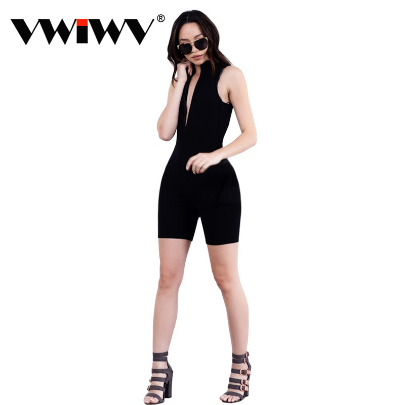 Summer 2018 Sexy jumpsuit romper short bodysuit Overalls one piece elegant playsuit Girl Grey/Black/Brown Front Zipper Jumpsuits
