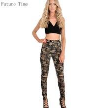 Камуфляж Высокая талия Джинсы женщин стрейч тощие джинсы Камо армии зеленые тощие джинсы женский карандаш штаны