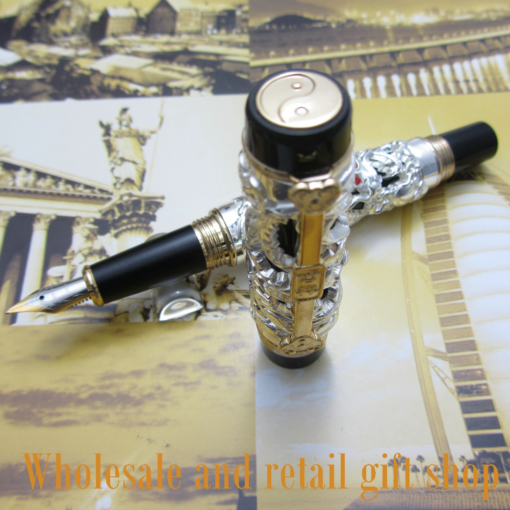 Jinhao Dragon Phoenix Heavy Argento Cinese Classica Fortuna Clip Fountain Pen
