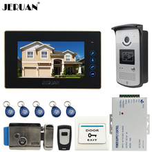 JERUAN 7« touch key Color Screen Video DoorPhone Intercom System 1 Monitor +700TVL RFID Access Camera + Electronic lock