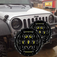 2pcs 75W LED Headlight 7inch Round LED Headlamp Bulb With Hi Lo Beam DRL For Jeep