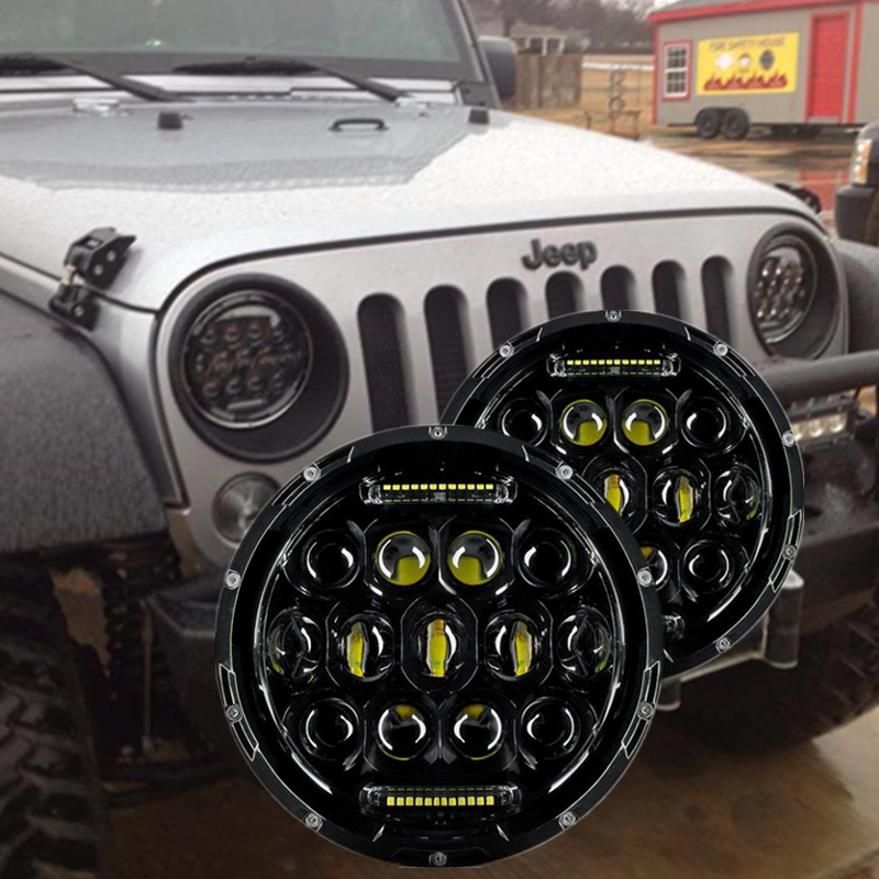 2pcs 75W LED Headlight 7inch Round LED Headlamp Bulb with Hi/Lo Beam DRL for Jeep Wrangler JK TJ CJ 1997-2017 Cruiser Hummer H1 2pcs new design 7inch 78w hi lo beam headlamp 7 led headlight for wrangler round 78w led headlights with drl