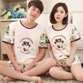 Korean pyjamas summer fashion lovers sleepwear short-sleeved men cartton bear pajama set lovely plus size M - XXXL women pajamas