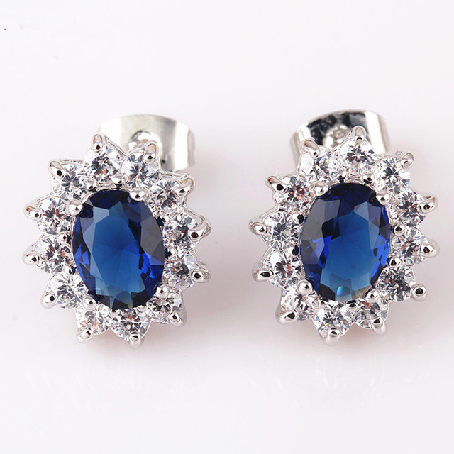 White Gold Color High Quality Aaa Blue Gem Stone Clear Crystal Cer Piercing Stud Earrings For