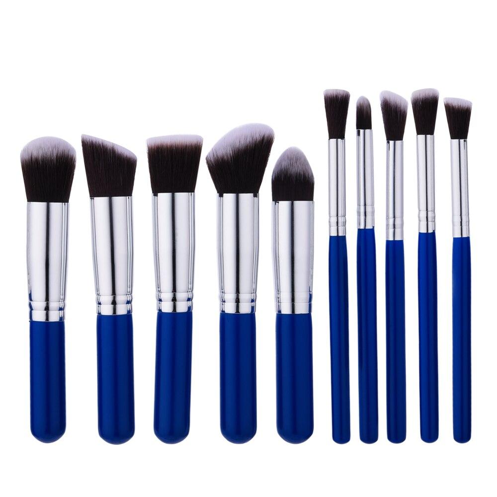 ELECOOL 10pcs Makeup Brushes Blue Plastic handle Make up Brush Set Powder Eyeshadow Lips Beauty Cosmetic Tool elecool 32 pcs makeup brush set soft
