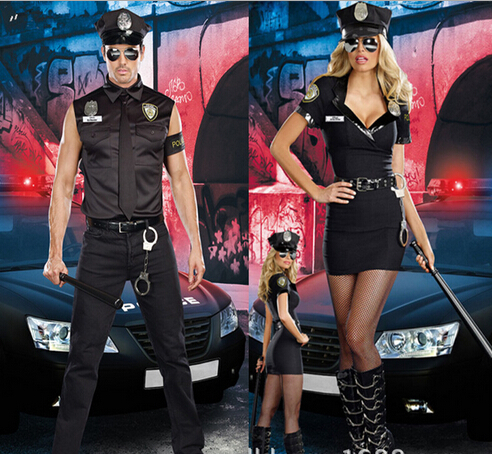 Free shipping New <font><b>Sexy</b></font> Couples Black Cop Costumes <font><b>Halloween</b></font> for Women <font><b>Men</b></font> Game Stage Bar Police Costume Role Cosplay image