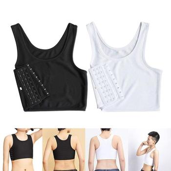 Women Buckle Short Chest Breast Binder Tran Vest Casual Shapers Tops Casual Breathable Buckle Vest Tops Short Top 1