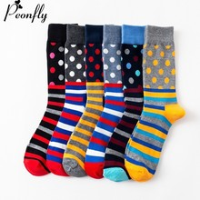PEONFLY Men's Funny Colorful Combed Cotton Socks Red Argyle Dozen Pack Casual Ha