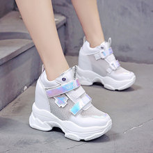 New Women High Platform Shoes Summer Mesh Breathable Women Height Increased Shoe