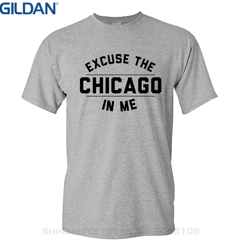 GILDAN Summer Short Sleeves Cotton Fashiont Shirt Strange Cargo Tees Excuse The Chicago In Me Shirt