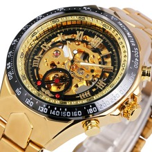 2016 WINNER Gold Watches Top Luxury Brand Men Automatic Mechanical Watch Male Skeleton Wristwatches Full Steel Sports Design