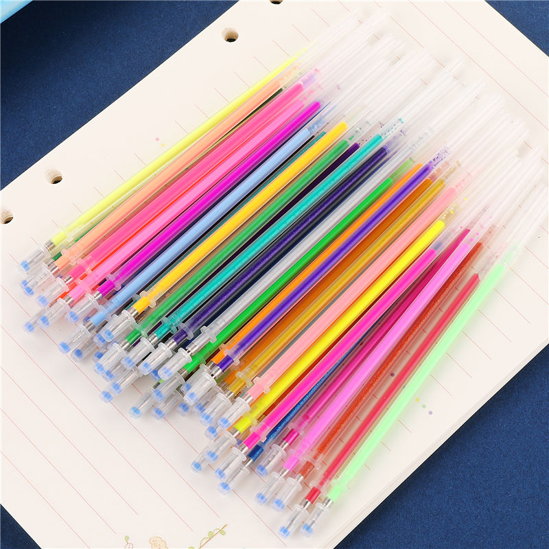 12/24/36/48 Multicolour Ballpoint Gel Pen Highlighter Refill Colorful Shining Pens For School Chancellory Gel Pen Set 04116