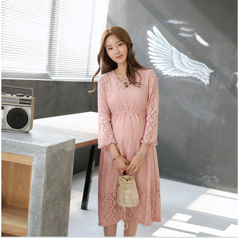 Spring New Pregnancy Clothes Maternity Pink Lace Hollow Out Midi Dress  Fashion Elegant High Waist Women Party Wedding Dresses-in Dresses from  Mother   Kids ... ac68bdf484b6