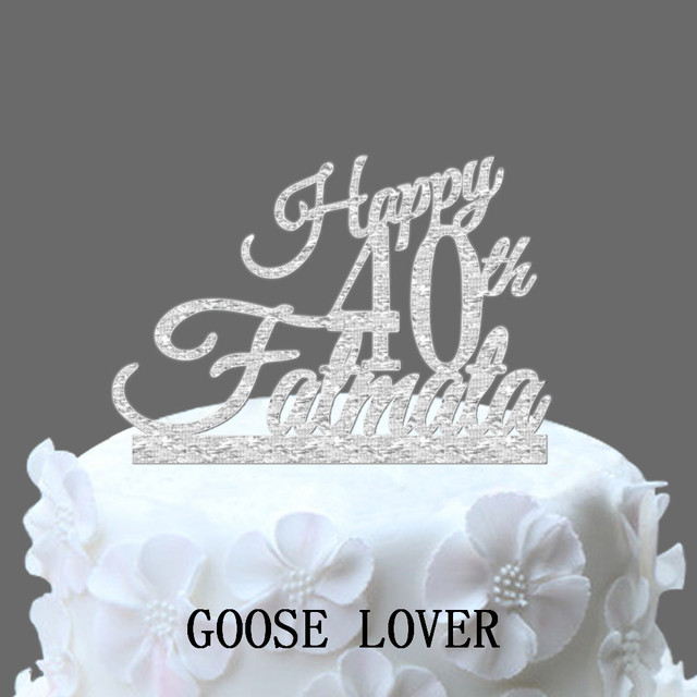 Happy Birthday Cake Topper Custom Name Year Party Decoration Acrylic Decor