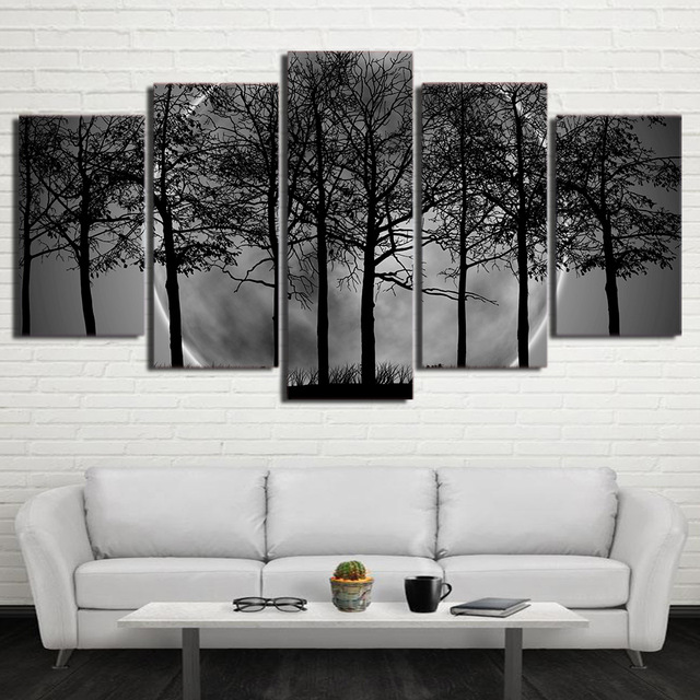 3959f56e219 Home Decor HD Prints Wall Art Trees Pictures 5 Pieces Black White Grey Psychedelic  Forest Landscape Canvas Paintings Framework