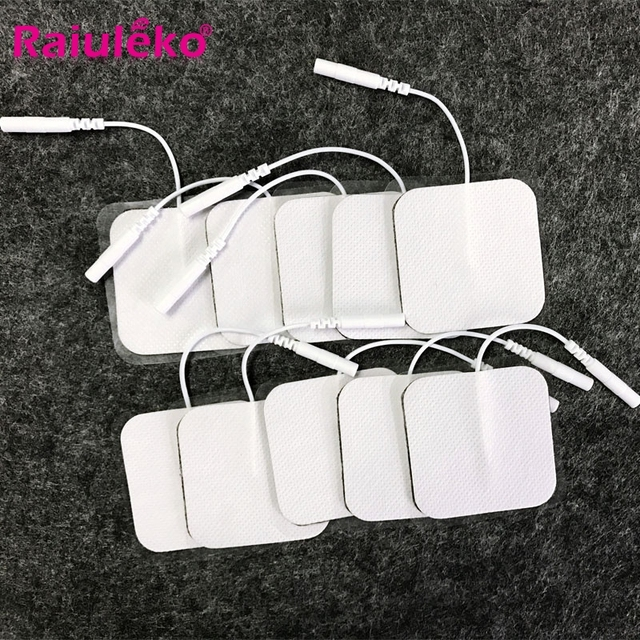 20/10p 5x5cm high quality Nerve Stimulator Silicone Gel Electrode Pads Tens Electrodes Digital Therapy Machine Massage 2mm Plug