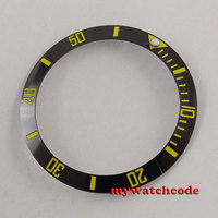 Black Ceramic Bezel Insert Yellow Marks For 40mm Mens Watch B31