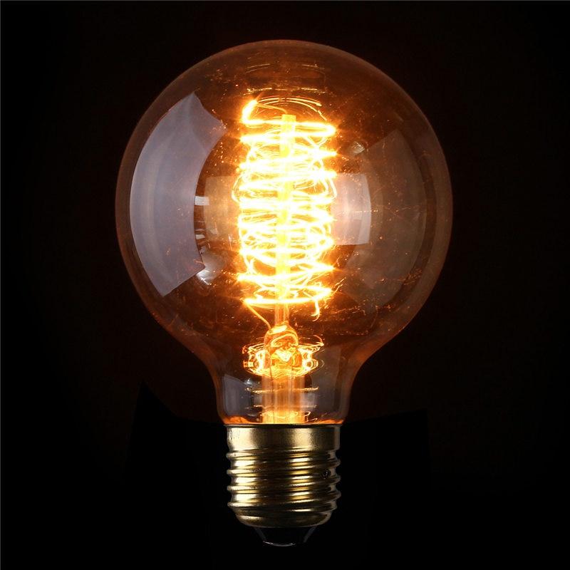 retro edison light bulb g80 e27 60w bulbs tungsten filament light home decor pendant lamp - Decorative Light Bulbs