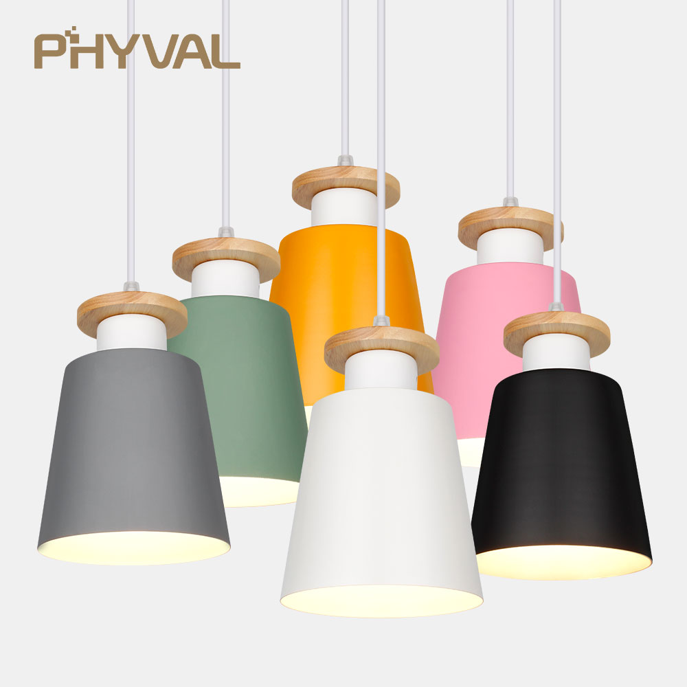 Pendant Lights Dining Room Pendant Lamps Modern Colorful Restaurant Coffee Bedroom Lighting Iron Solid Wood LED Hang Lamp E27