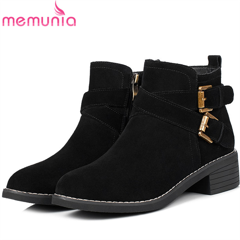 MEMUNIA Zipper solid womens boots in spring autumn ankle boots fashion shoes woman cow suede leather boots med heels morazora ankle boots for women fashion shoes woman cow suede leather boots solid zipper platform womens boots size 34 40