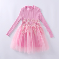 Girls Dresses 2017 Autumn Baby Girls Lace Knee Length Dresses Casual Knitted Sweater Kids Children Party