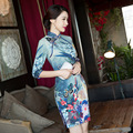Blue Chinese Wedding Dress Female Long Sleeves Cheongsam Slim Chinese Traditional Dress Women Qipao for Wedding Party