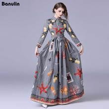 Banulin High quality Runway New 2018 Women Summer Maxi Dress Bow Neck long Sleeve Plaid Floral Print Party Elegant Long Dresses цена