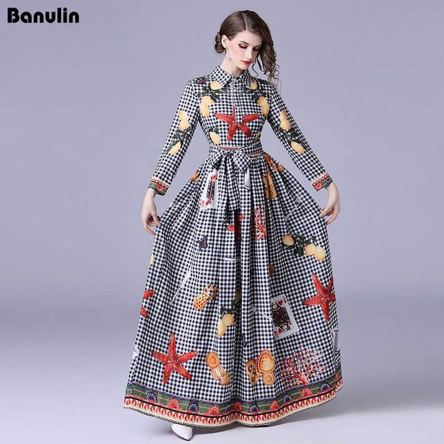 ebc074889e58 Banulin High quality Runway New 2018 Women Summer Maxi Dress Bow Neck long  Sleeve Plaid Floral Print Party Elegant Long Dresses