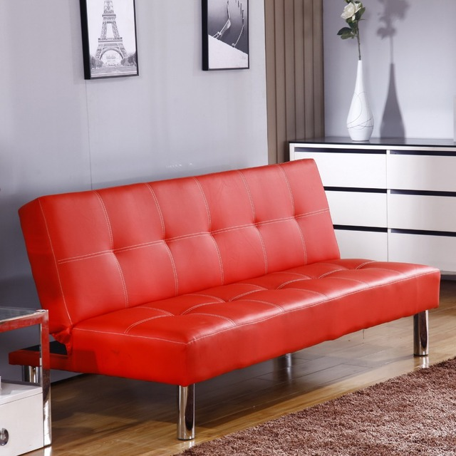 Click Clack Sofa Bed Red Faux Leather 2 3 Seater Double Couch Modern Settee