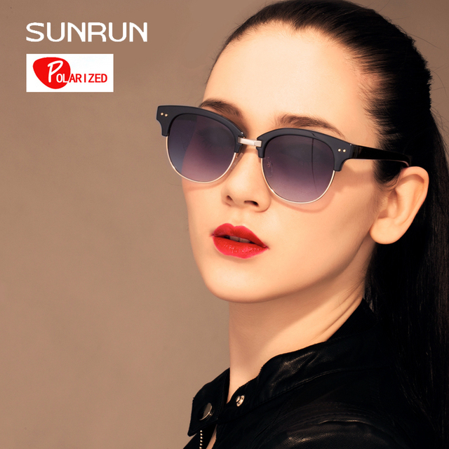 3db951b9e53 SUNRUN Sunglasses Polarized TR90 Women Glasses Semi-Rimless Design Retro  Sunglasses UV400 gafas de sol