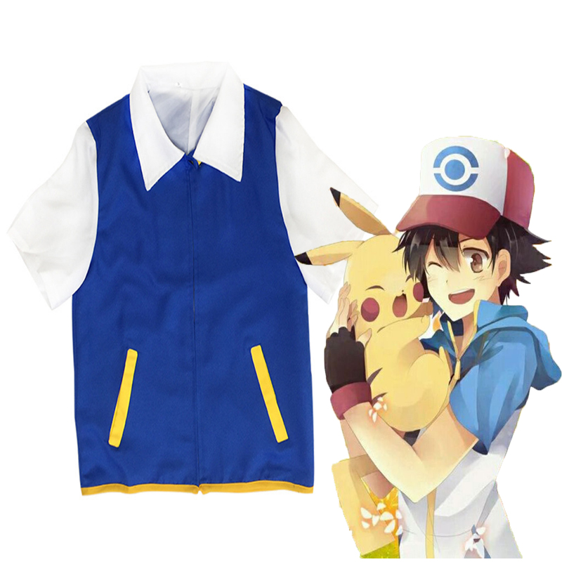 Anime Pokemon Cosplay Costume Ash Ketchum Uniform Cosplay Costumes Halloween Carnival Christmas Party Satoshi Cosplay Costumes